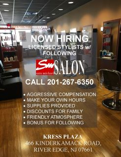 HAIRSTYLIST for new River Edge, NJ Salon 07661