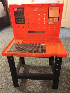 Home Depot tool bench with tools