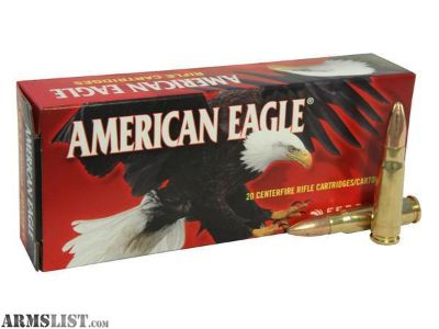 For Sale: AMERICAN EAGLE 7.62X39MM SOVIET 124 GRAIN FMJ - CASE OF 20