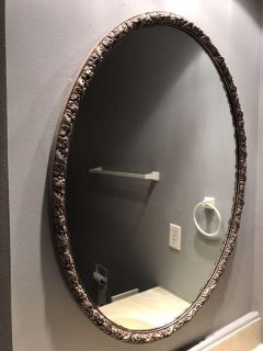 Mirror - Large Oval with Antiqued Bronze Paint & Floral Design