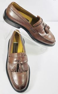 Johnston and Murphy Mens Shoes Size 7.5 Brown Leather Kiltie Tassel Style 1140