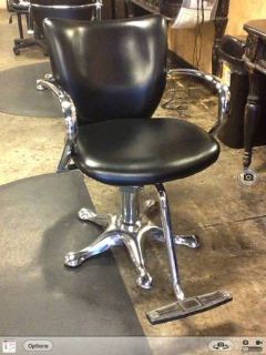 New black and chrome salon chairs