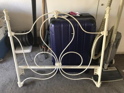 Vintage Wrought Iron Ivory Bed Frame-Twin