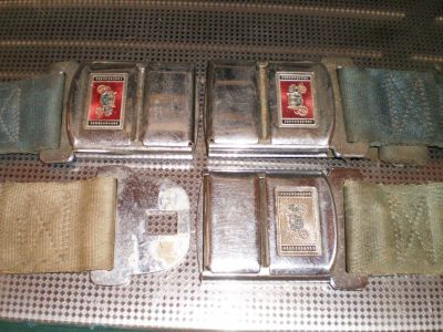 RARE GM Deluxe Carriage Logo 3 SeatBelt BUCKLES Pontiac Chevelle Cutlass Chevy