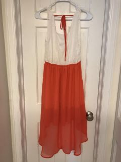 White and coral high low dress