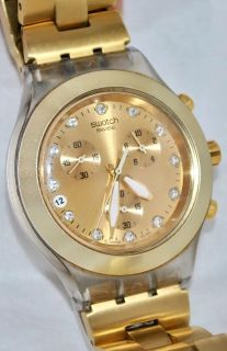 *FOR PARTS ONLY-Swatch Full Blooded Chrono Gold Watch