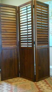 Walnut Finish Solid Wood Room Divider with Folding Blinds.