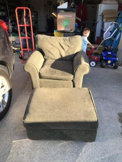 Oversized Green Chair with Matching Ottoman