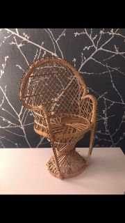 MINI doll vintage rattan chair/ plant holder