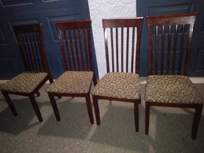 4 Mahogany Wood Slat chairs with Classic Paisley Seat