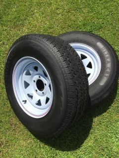 2 New Trailer Tires And Rims - ST205/75R14
