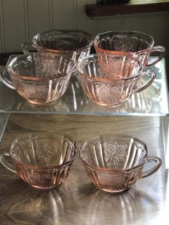Pink Depression Glass Cups