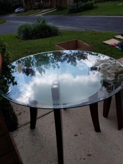 Heavy beveled glass top table