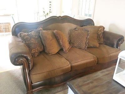 Ashley Leather and Tweed Sofa and Loveseat