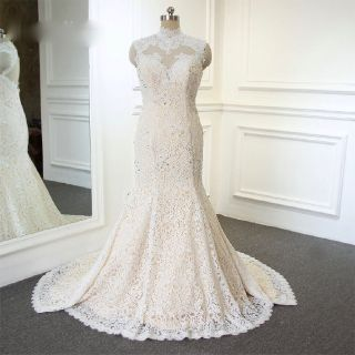 Jordyn's Mermaid High Neck Applique Wedding Gown