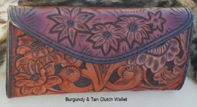 $349 OBO Womens tooled leather clutch wallet