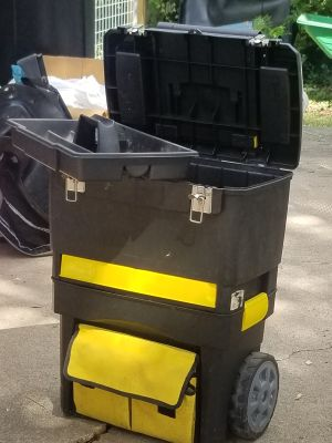 Stanley multi compartment Too Chest with pulling handle and on wheels.