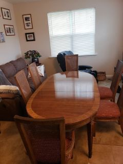 Kitchen table and 6 chairs.