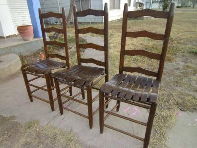 three nice ,sturdy ,solid wood, antique chairs- plus extra for parts (san angelo)