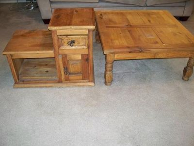 $150, Mexican style wood coffee table endtable