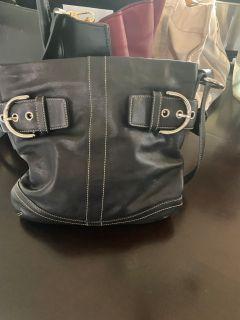 Coach Genuine Leather Handbag. Black.