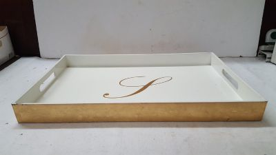 """Home Goods Gold/Off White Monogram """"L"""" Serving Tray 12"""" x 18"""""""