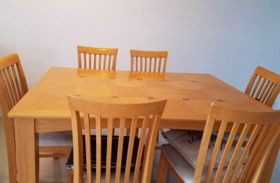 Dining table extension table set 6 chairs