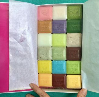 Triple milled organic guest soaps, smell amazing and beautiful colors