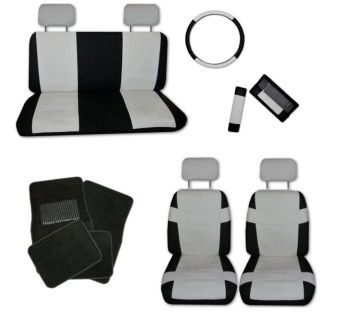 Purchase Superior Faux Leather Off White Black Car Seat Cover Set and Black Floor Mats #D motorcycle in Hildale, Utah, US, for US $51.35