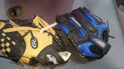 Kid's Baseball gloves and cleats