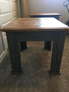 2 Gray & Brown End Tables