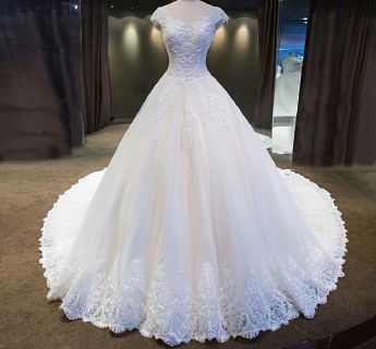 Kristah's A Line Lace Cap Sleeves Wedding Gown