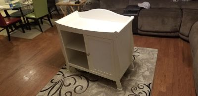 White wood baby changing table