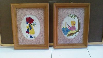 Two Cute Wood Framed Needlepoint Pictures with fabric mat