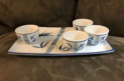 Oriental Ceramic Tray and Tea Cups