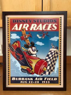 21 by 17 Inch framed Disney Air races Mickey Mouse framed picture