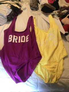 Two XL bride swimsuits. Magenta worn once, yellow never worn. $5 for both