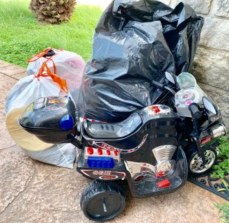 Three Large Bags of Clothes, Household, and More - Plus Motorized Bike