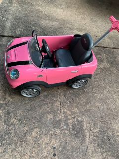 Pink Mini Cooper push along ride