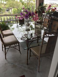 Glass Steel Bamboo Dining Room Set!