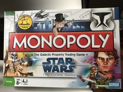 New Monopoly Star Wars Game - The Clone Wars. Includes 6 Collectible Tokens. New and Sealed NIB.
