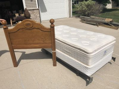 Gently used Twin pillow top mattress, box spring and headboard