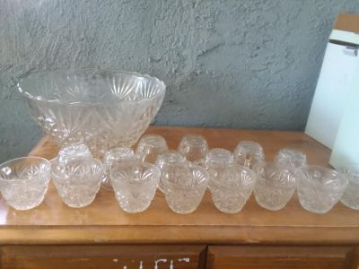 Glass punch bowl set 16 cups and bowl