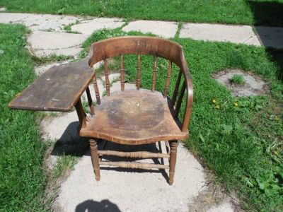 ANTIQUE DESK CHAIR-MONMOUTH COLLEGE