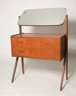 Mid century Vanity in teak with Walking legs