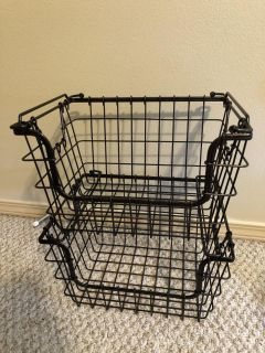 Two metal stackable baskets from Costco