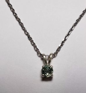 Natural Round Green Montana Sapphire necklace, 0.54cts