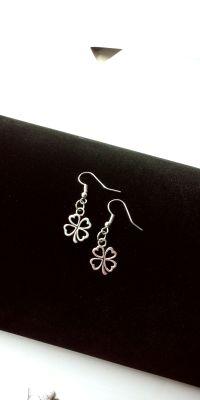 Silver Four leaf clover charm earrings