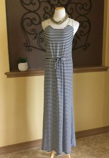 Navy & White Maxi Dress with Drawstring Waist & Crochet Details on Shoulders