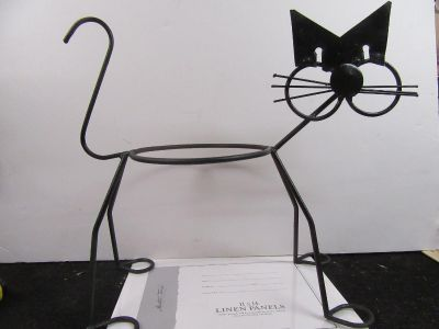 """large wrought iron and some metal Cat plant holder 20"""" x 8 1/2"""" x 18"""" tall"""